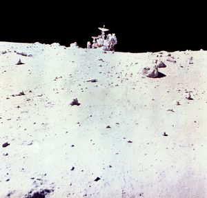 Astronaut Charles Duke with Lunar Rover on Moon