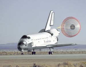 STS-66 Atlantis Landing and Chute Deployment at Edwards