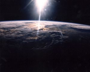 Sunlight over Earth as seen by STS-29 crew