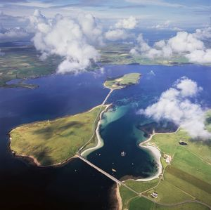 Aerial image of Scotland, UK: Churchill Barriers,