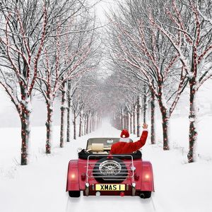 christmas/avenue trees father christmas driving snow