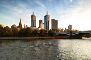 City skyline and Princes Bridge.on the Yarra River