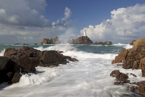 Corbiere Lighthouse - showing tide over causeway