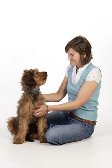 Dog - Puppy (Briard) & owner looking lovingly at each other