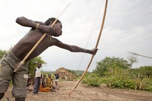 Hadzabe Tribal Boys - with bow and arrow - less
