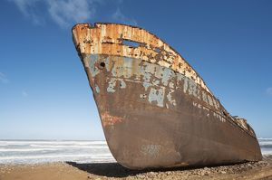 Morocco - The Zahra shipwreck at the shore of the