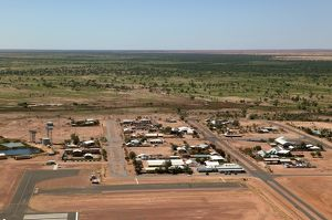The outback town of Birdsville with the Diamantina