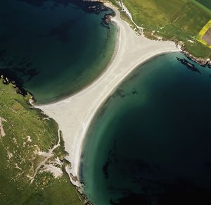Scotland - St Ninian's tombolo / tombola, a sandbar connects the island to the