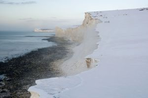 Snow blowing off the cliffs near the Seven Sisters