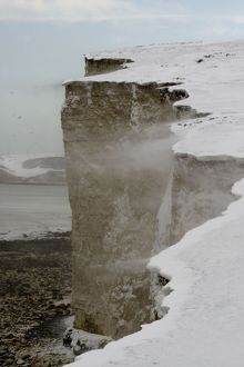 Snow blowing off the cliffs of the Seven Sisters
