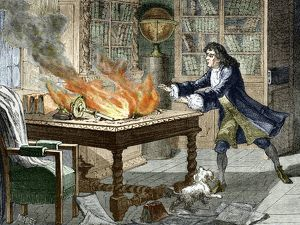 Newton's Opticks notes in flames, 1692