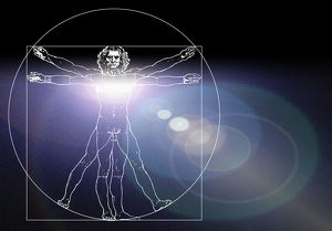 Vitruvian man with flare in chest