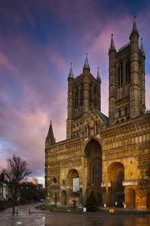 England, Lincolnshire, Lincoln. The main enterance to Lincoln Cathedral in the UK