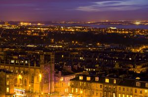 Scotland, Edinburgh, Calton Hill. Looking accross Edinburgh City New Town to the
