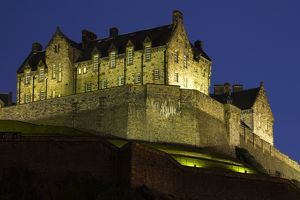 Scotland, Edinburgh, Edinburgh Castle. Edinburgh Castle illuminated at night.