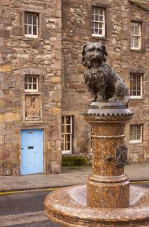 Scotland, Edinburgh, Greyfriars Bobby. Statue of Greyfriars Bobby, the famous loyal Skye Terrier who lay on the grave of his master John Gray for 14 years after his death in 1858 - Only leaving his grave briefly to