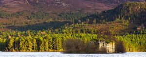 Scotland, Scottish Highlands, Cairngorms National Park. Castle located on Loch an Eilein