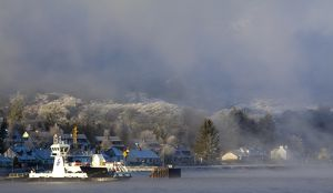 Scotland, Scottish Highlands, Corran. The Corran ferry port with hoarfrost covered