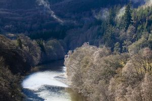 Scotland, Scottish Highlands, Killiecrankie. The River Garry and surrounding woodland