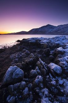 Scotland, Scottish Highlands, Loch Linnhe. Frost covered shoreline of a Loch Linnhe Bay
