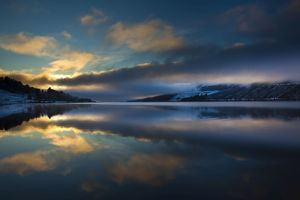 Scotland, Scottish Highlands, Loch Lochy. Cloud formations refelcted upon Loch Lochy