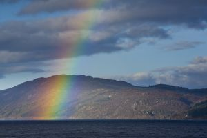 Scotland, Scottish Highlands, Loch Ness. A rainbow over Loch Ness, Great Glen.
