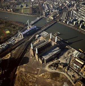 Aerial image of Battersea Power Station, an unused coal-fired power station on the