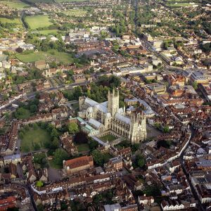 Aerial image of city and cathedral, Canterbury, Kent, England, United Kingdom, Europe
