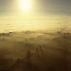 Aerial image of fog over the Somerset Levels, near Glastonbury, Somerset