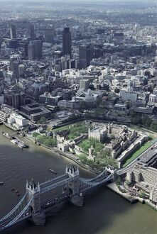 Aerial of Tower Bridge, Tower of London and the City of London, London