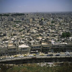 Aerial view over the city of Aleppo