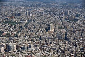 Aerial view over the city of Damascus