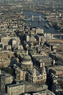 Aerial view of St. Pauls Cathedral, Tower Bridge and the River Thames, London