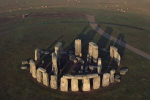 Aerial view of Stonehenge, UNESCO World Heritage Site, Wiltshire, England