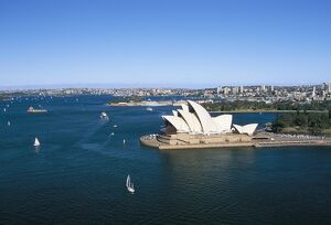 Aerial view of Sydney Opera House and harbour, Sydney, New South Wales