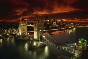 Aerial view over Tower Bridge, London, England, United Kingdom, Europe