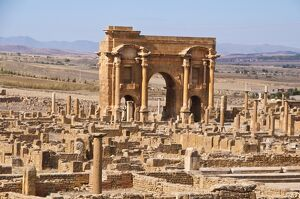 The Arch of Trajan in the Roman ruins, Timgad, UNESCO World Heritage Site