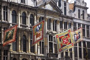 Banners representing houses, Grand Place, Brussels, Belgium, Europe