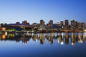 BC Place Stadium and residential city buildings, False Creek, Vancouver