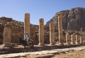 Bedouin on a donkey on the colonnaded street