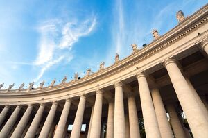 Bernini's 17th century colonnade and statues of saints, St. Peter's Square, Vatican City