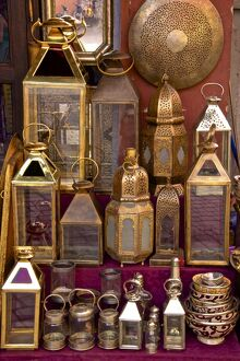 brass copper lanterns sale street medina marrakech