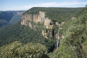 Bridal Veil falls from Govett's Leap lookout, Grose Valley, Blue Mountains National Park