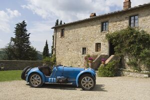 Bugatti car at the Castello di Spaltenna now a hotel