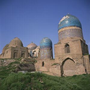 Buildings and domes of the Shah i Zinda mausoleums in Samarkand