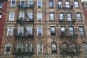 Buildings featured on cover of Led Zeppelin album Physical Graffiti, St. Marks Place, East Village, Manhattan, New York City, United States of America, North America