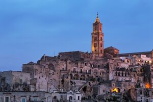 campanile cathedral night sassi area matera basilicata