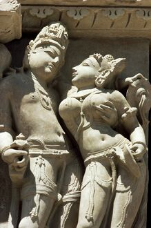 Detail of carving of a couple on the Parsvanatha Temple