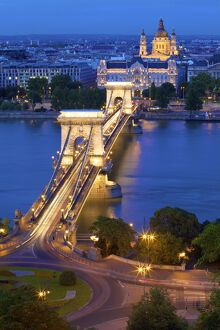 Chain Bridge, Four Seasons Hotel, Gresham Palace and St. Stephen's Basilica at dusk