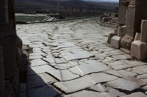Chariot wheel ruts by the West Gate, Roman site of Timgad, UNESCO World Heritage Site